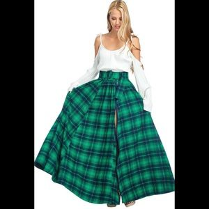 TOV Tartan plaid widow full maxi skirt